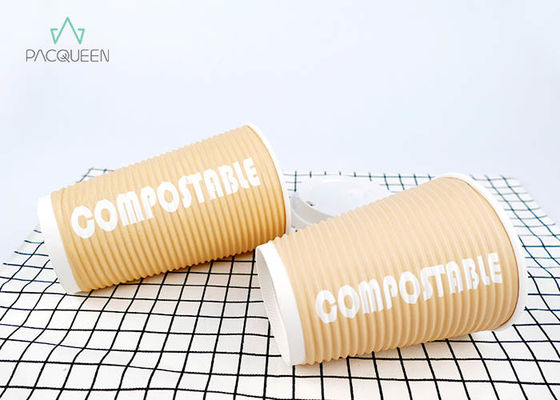 China 100 Percent Eco Compostable Hot Cups , Bagasse Fiber White Paper Cups supplier