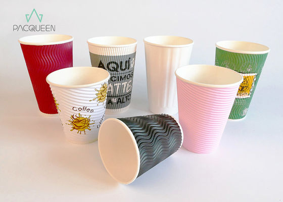 China Hot Chocolate / Coffee Take Out Cup , Ripple Wall Paper Cup For Hot Drinks supplier