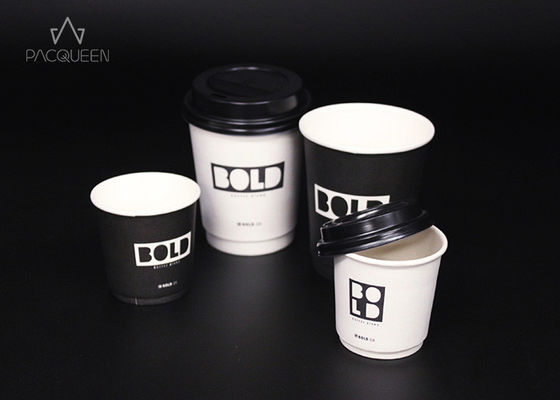 China White / Black Printed Double Wall Paper Cup , Disposable Tea Cups supplier