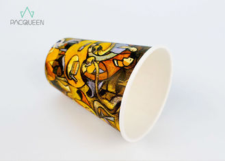 China Customized Colorful Single Wall Paper Cups Artistic Pattern For Hot Drinking supplier