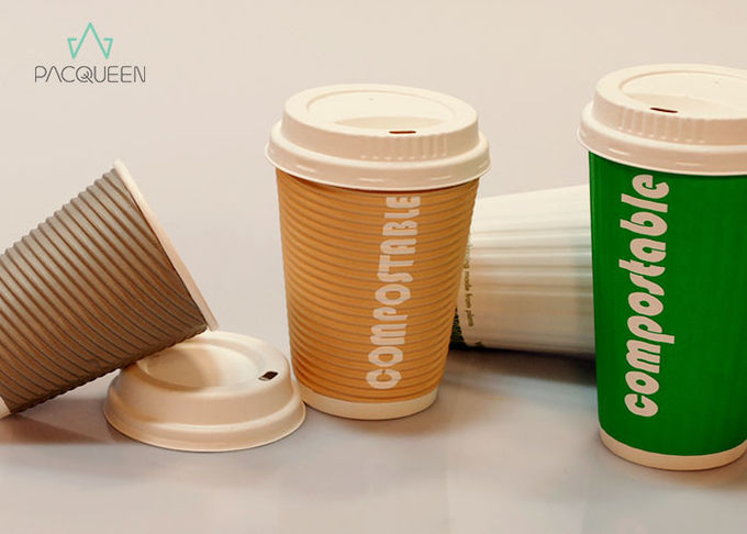 100 Percent Eco Compostable Hot Cups , Bagasse Fiber White Paper Cups
