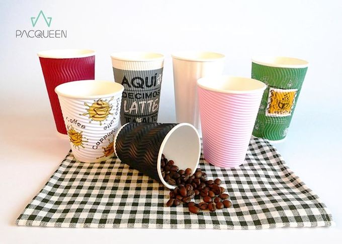Colorful Three Layer Corrugated Paper Cups , Ripple Insulated Cups Multiple Sizes