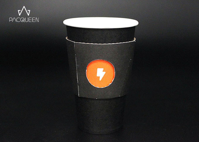 White / Black Printed Double Wall Paper Cup , Disposable Tea Cups